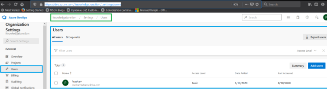 Azure DevOps - Starting with AzureDevOps - Organization Settings Users