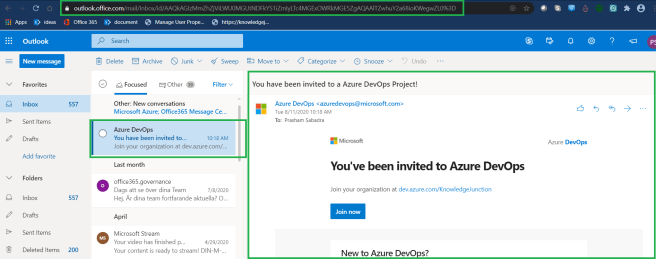 Azure DevOps - Starting with AzureDevOps - Organization Settings Users - Adding new users - Email received by the invited user