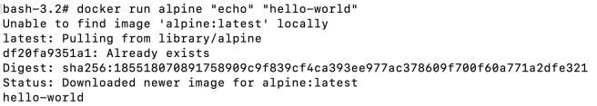 """""""hello-world"""" using alpine image when image is not present in local"""