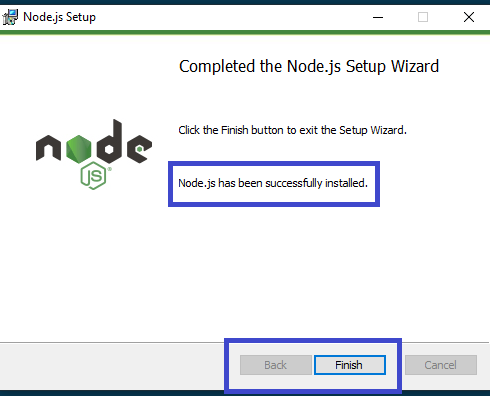 React - Preparing environment for React - Installing Node.js - Node.js installed successfully