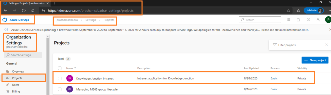 Azure DevOps - Organization setting page - Projects - Restored project