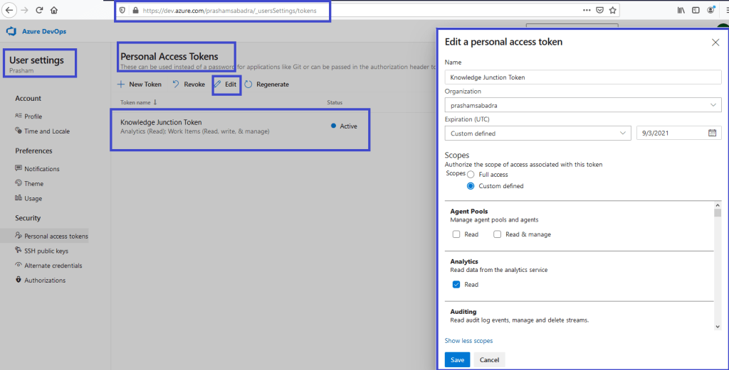 Azure DevOps - Personal access token home page - editing selected PAT