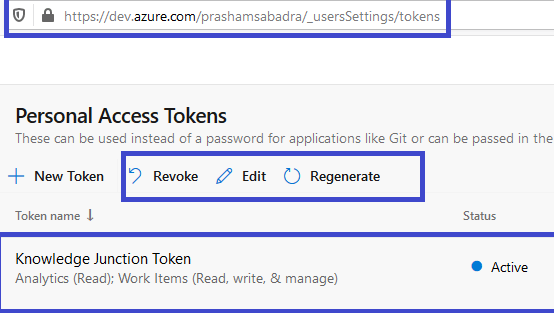 Azure DevOps - Personal access token home page - selecting given PAT - Appearing options in top command bar - Revoke, Edit and Regenerate