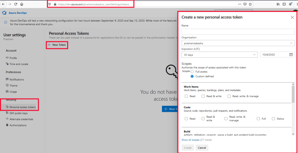 Azure DevOps - Creating Personal access tokens (PAT) - PAT home page - Create a new personal access token dialog