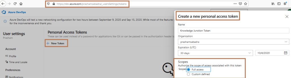 Azure DevOps - Creating Personal access tokens (PAT) - PAT home page - Create a new personal access token dialog - Scopes