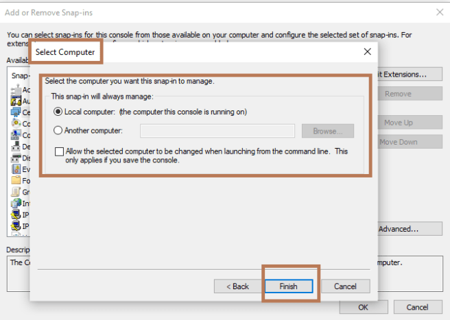 MMC >> Importing certificate to Certificates snap-in >> Select Computer option