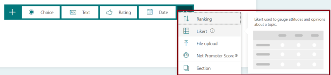 M365 - Microsoft Forms - Creating Quiz - Controls available for the Form