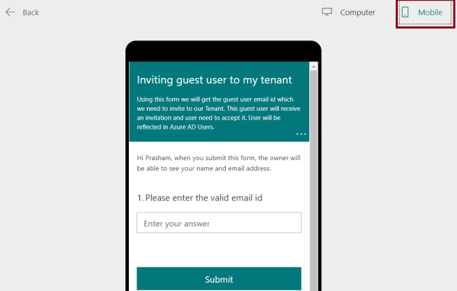 M365 - Microsoft Forms - Creating Quiz - Preview of Form on Mobile