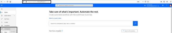 "Power Automate - Home page, selecting ""Connectors"" from left side pane"