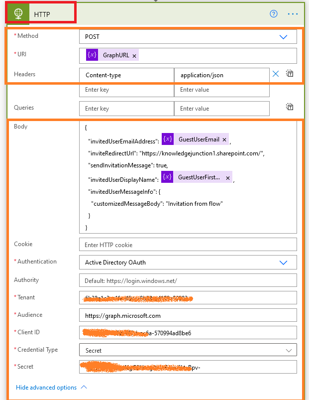 Power Platform / Azure - Power Automate - HTTP connector - Calling Microsoft Graph Rest API to add guest user to Azure AD