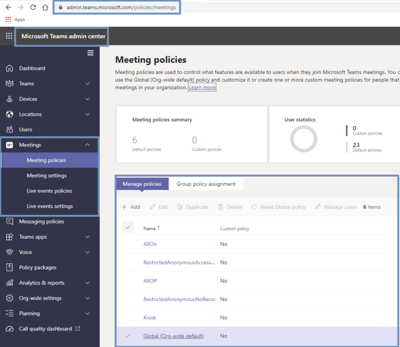 Microsoft Teams admin center - Meetings >> Meeting policies