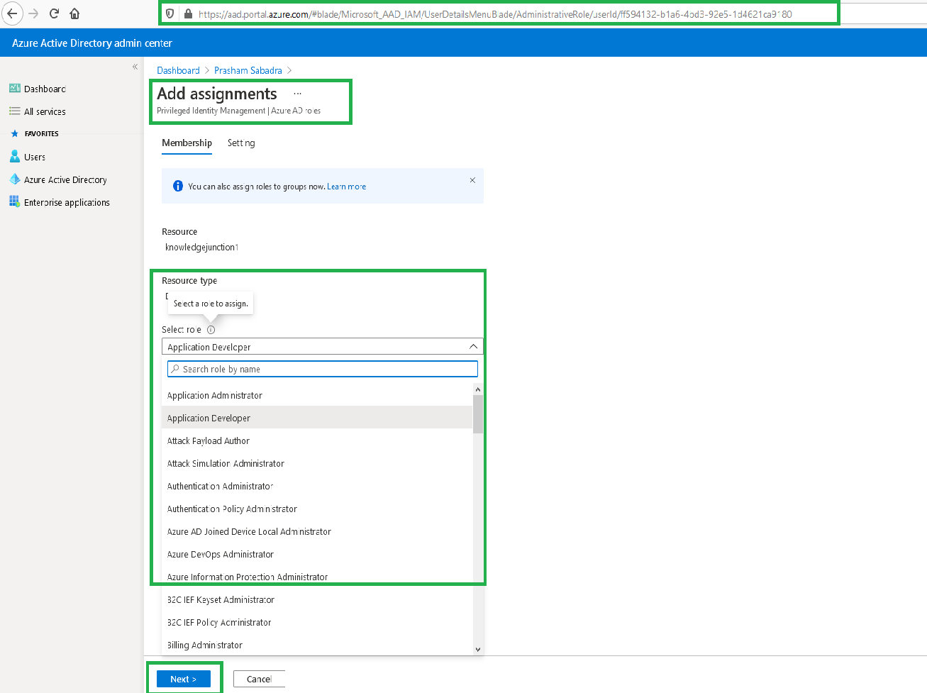 Azure Active Dierctory Admin center - Add role to the user