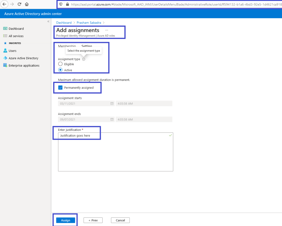 Azure Active Directory admin center - Assign new role to respective user