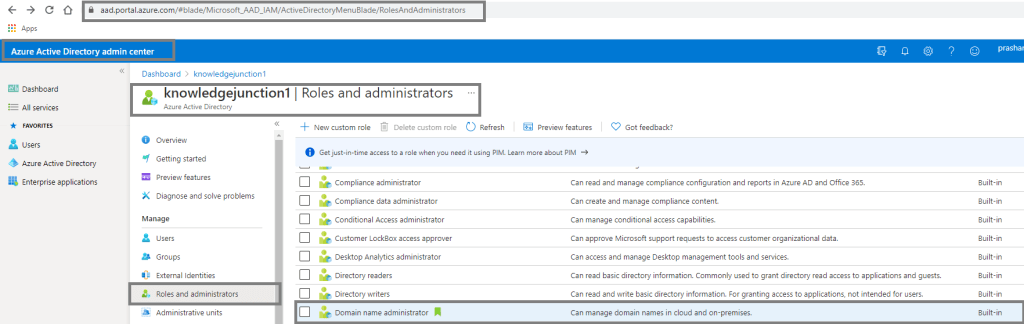 Azure AD - Roles and administrators - new role - Domain name administrator