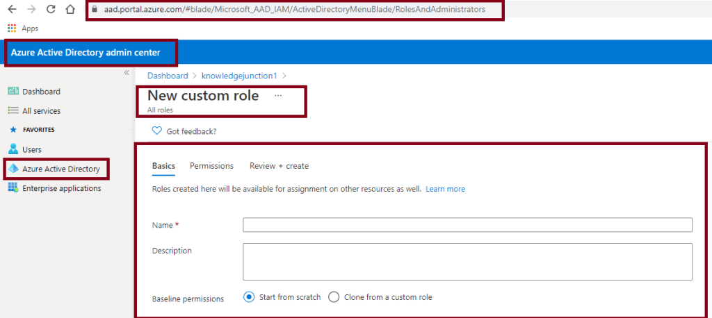 Creating custom role definition - Azure Active Directory admin center - New custom role page