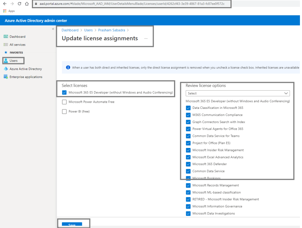 fig : Azure Active Directory admin center - assigning license to the user