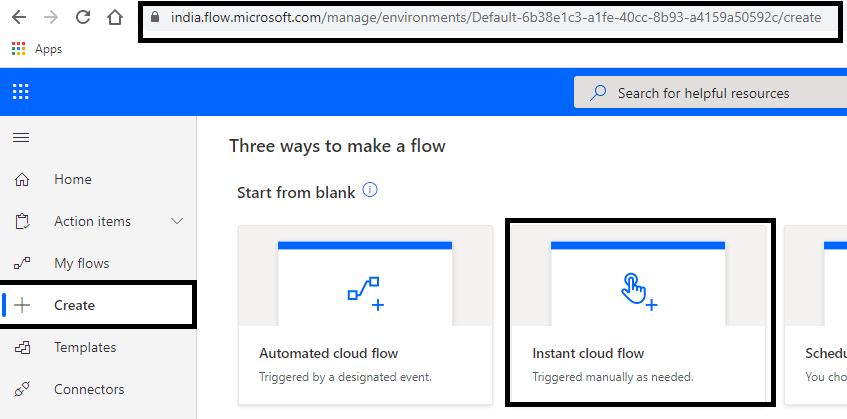 Power Automate - Creating Instant cloud flow