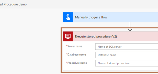 "Power Automate -setting ""Server name"", ""Database name"" and getting stored procedures listing"