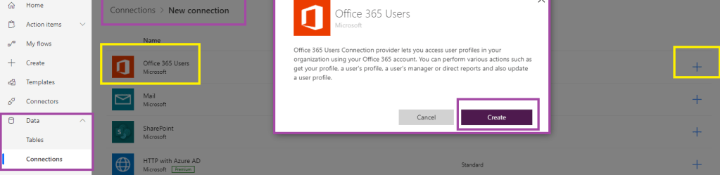"""Power Automate - Connections List - Selecting """"Office 365 Users"""" to create new connection"""