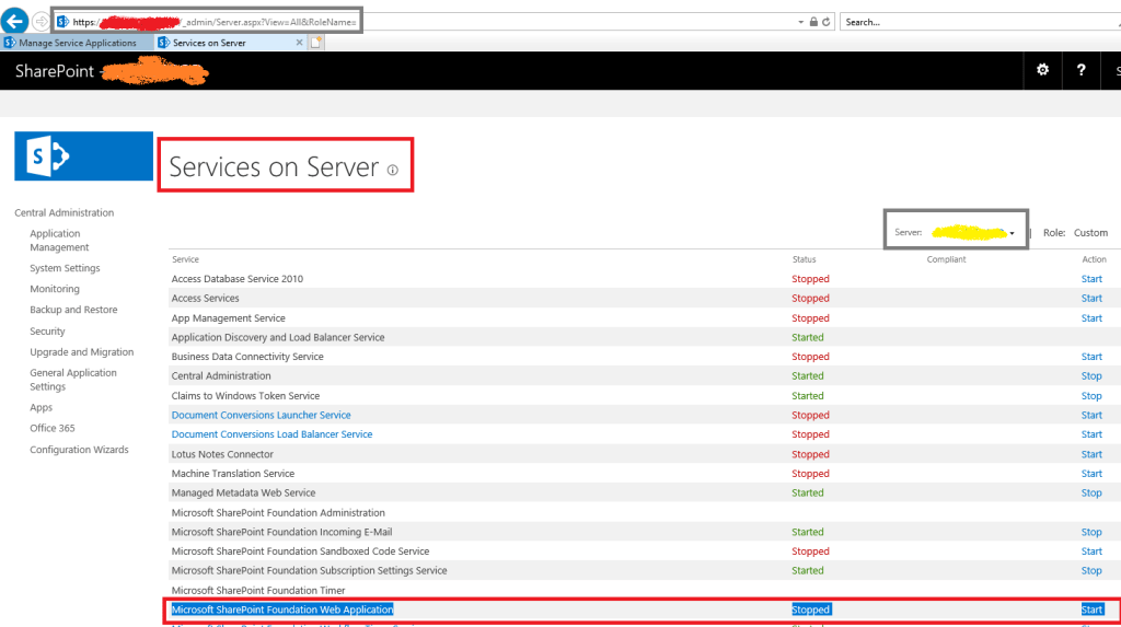 SharePoint 2016 - Central Administration - Services on Server - Microsoft SharePoint Foundation Web Application service stopped