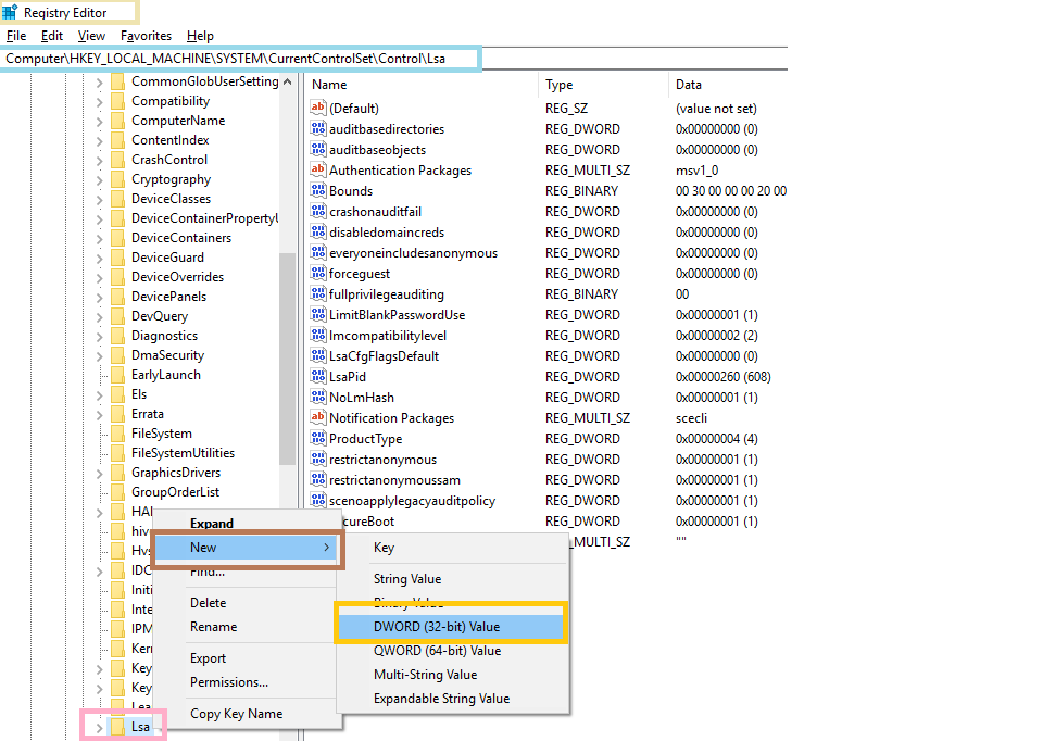 Registry Editor - creating new DWORD entry
