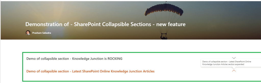 Fig : Microsoft 365 - SharePoint Online - new feature - SharePoint Collapsible Sections demonstration