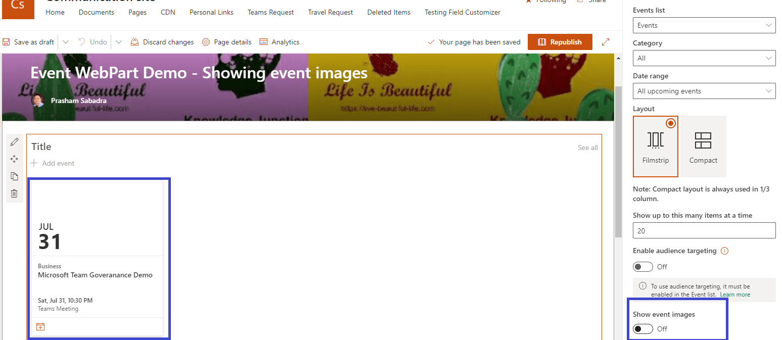 M365 - SharePoint online - SharePoint Events web part will display event imagesEvent web part - showing