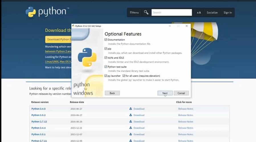 Fig : Python installation  - selecting the features