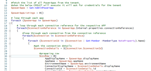 PowerShell script to fetch all PowerApps and respective connection details in M365 tenant