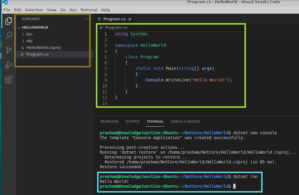 Executing .NET core console application on LINUX