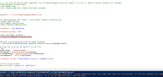 PowerShell script to get all PowerAutomates from the tenant