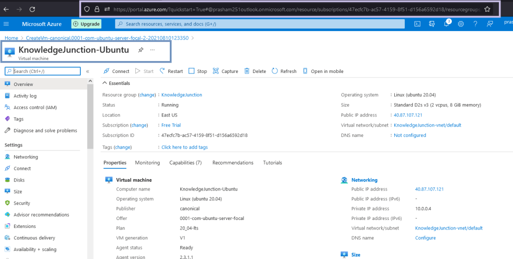 Linux VM is created from Azure Portal