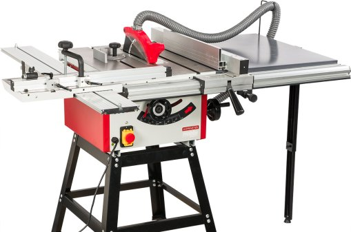 1. Axminster Hobby Series TS-250M-2 Table Saw with leg stand, right hand extension and sliding table kit
