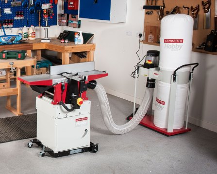 Axminster Hobby Series AWEPT106 Planer Thicknesser connected to the AWEDE2 Extractor