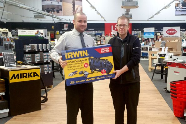 Andrew Bridge being presented with an Irwin Tool Organiser