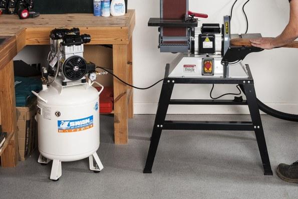 Swan compressor in a wokshop