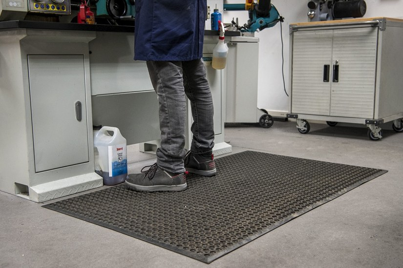 Safety matting in use in a workshop
