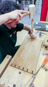 Matt cutting dovetails by hand