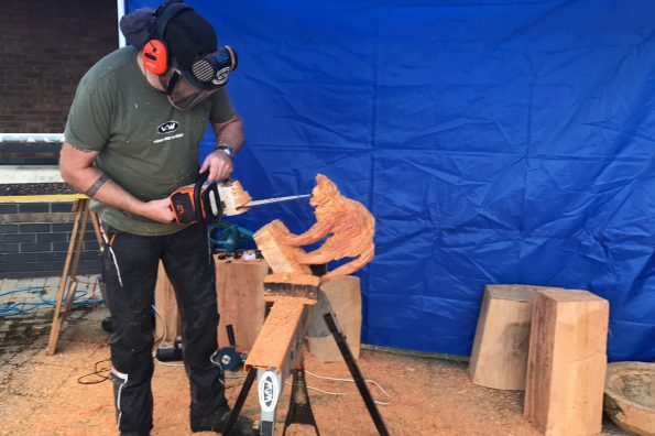 Chris Wood with his chainsaw art