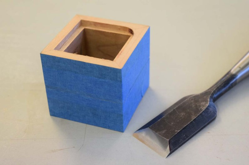 Square out corners top and bottom using a chisel