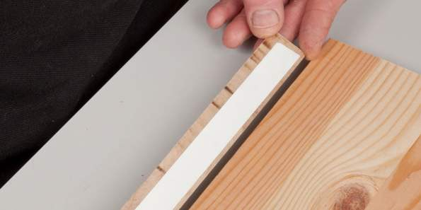 Fixing a strip of wood with double sided tape