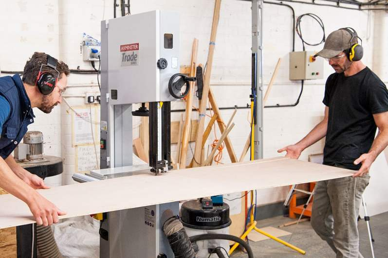 Axminster Trade Series bandsaw in use