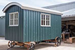 Shepherd hut outside the workshop