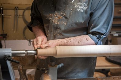 Shaping handles with a skew chisel