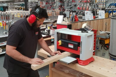 Talhal testing out the new Craft thicknesser