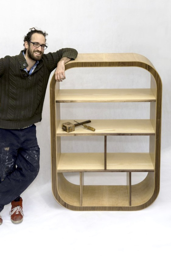Nic with his completed bookcase