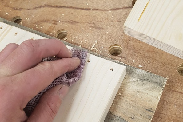 Sanding off pencil marks