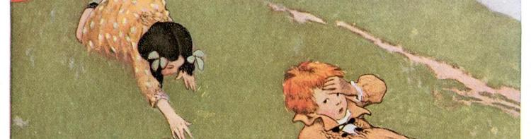Vintage image of Jack and Jill falling down the hill.