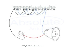 How can I wire a siren or strobe to activate from multiple