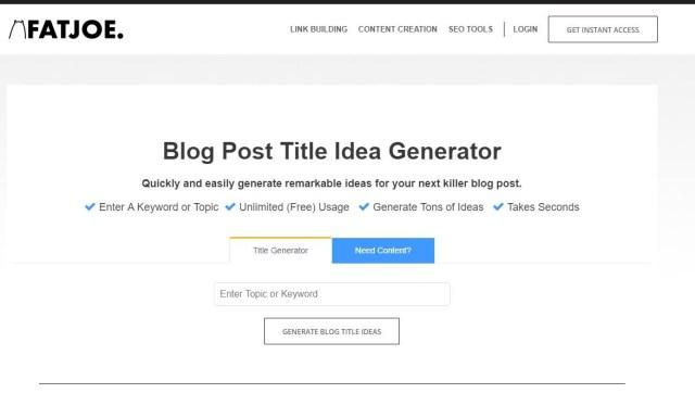 FatJoe Blog Post Title Idea Generator